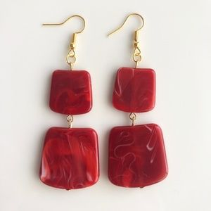 "Jewelry - NEW ""Temple"" Acrylic Square Earrings (red)"